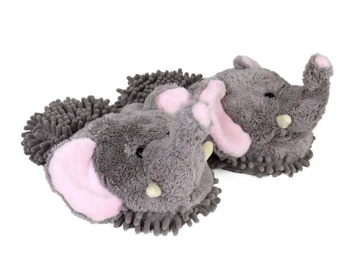 Gray Elephant Slippers 3/4 View