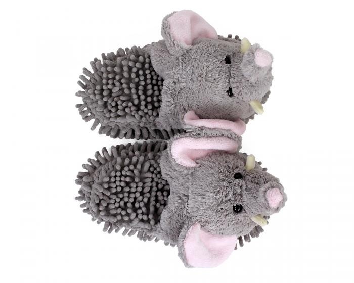 Gray Elephant Slippers Top View