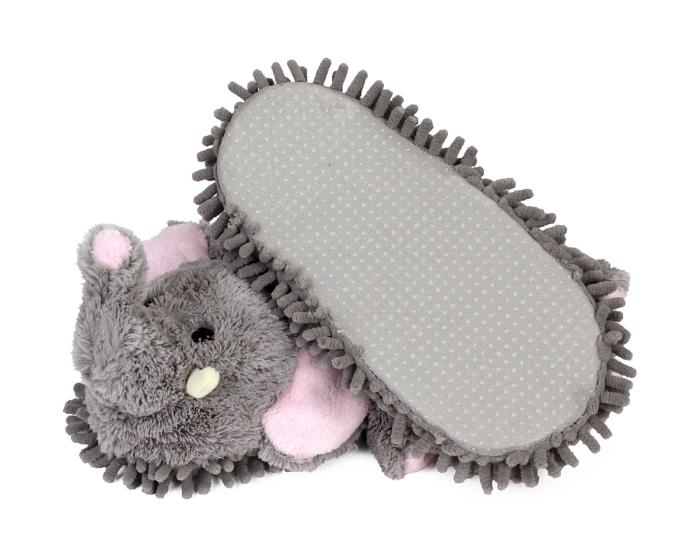 Gray Elephant Slippers Bottom View