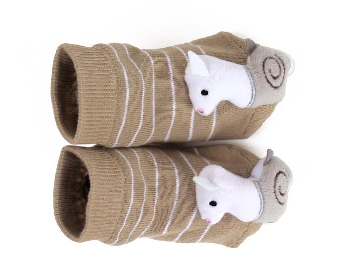 Llama Baby Rattle Socks Top View