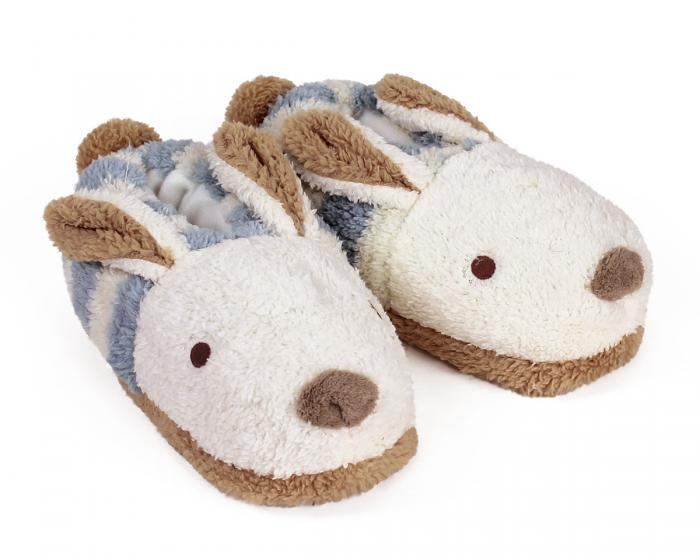 Blue Stripe Bunny Slippers 3/4 View