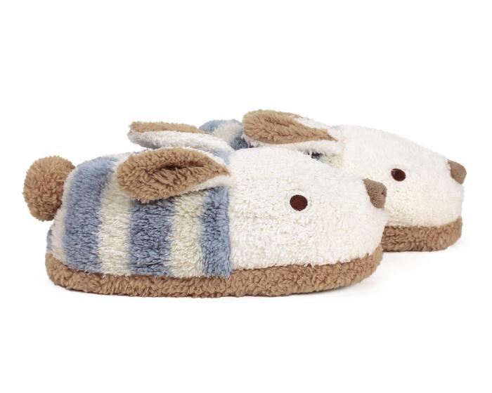 Blue Stripe Bunny Slippers Side View