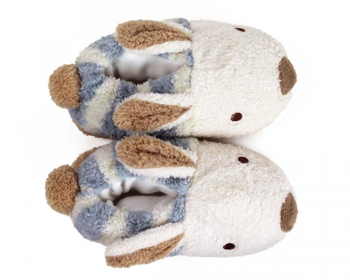 Blue Stripe Bunny Slippers Top View