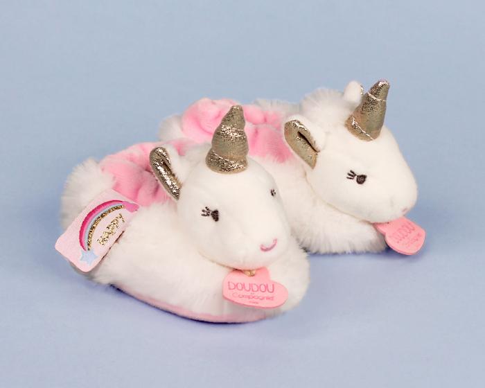 Unicorn Baby Booties 3/4 View
