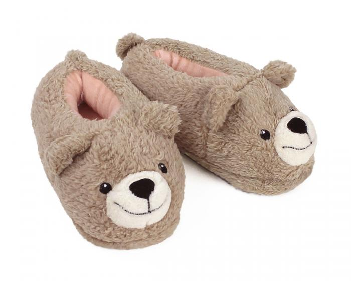 Kids Teddy Bear Slippers 3/4 View