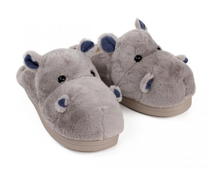 Fuzzy Hippo Slippers 3/4 View