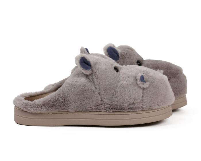 Fuzzy Hippo Slippers Side View