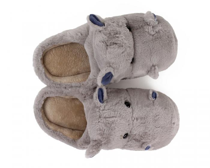 Fuzzy Hippo Slippers Top View