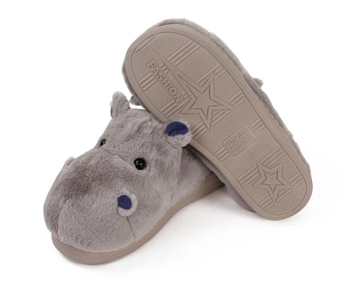 Fuzzy Hippo Slippers Bottom View
