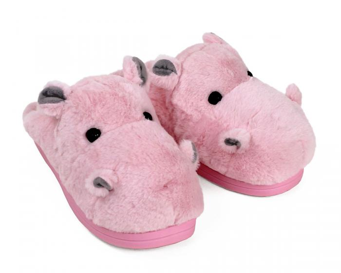 Fuzzy Pink Hippo Slippers 3/4 View