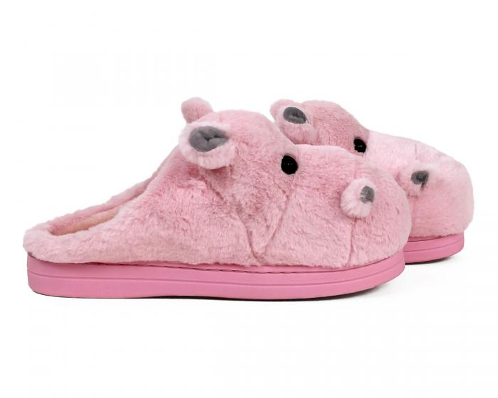Fuzzy Pink Hippo Slippers Side View