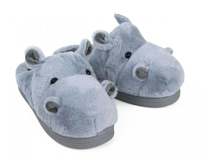 Fuzzy Blue Hippo Slippers 3/4 View