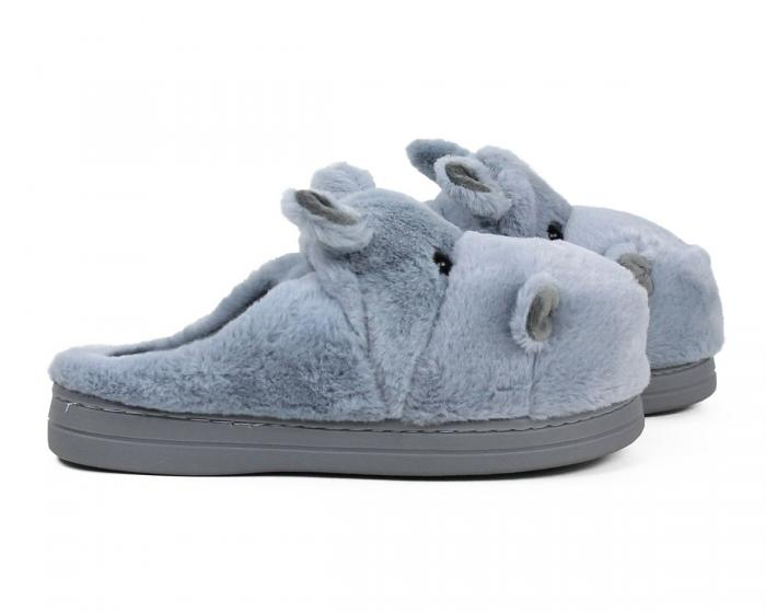 Fuzzy Blue Hippo Slippers Side View