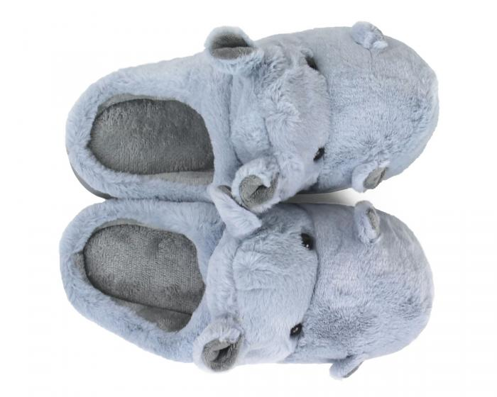 Fuzzy Blue Hippo Slippers Top View