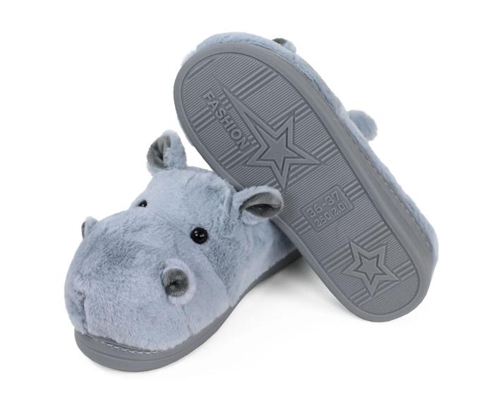 Fuzzy Blue Hippo Slippers Bottom View