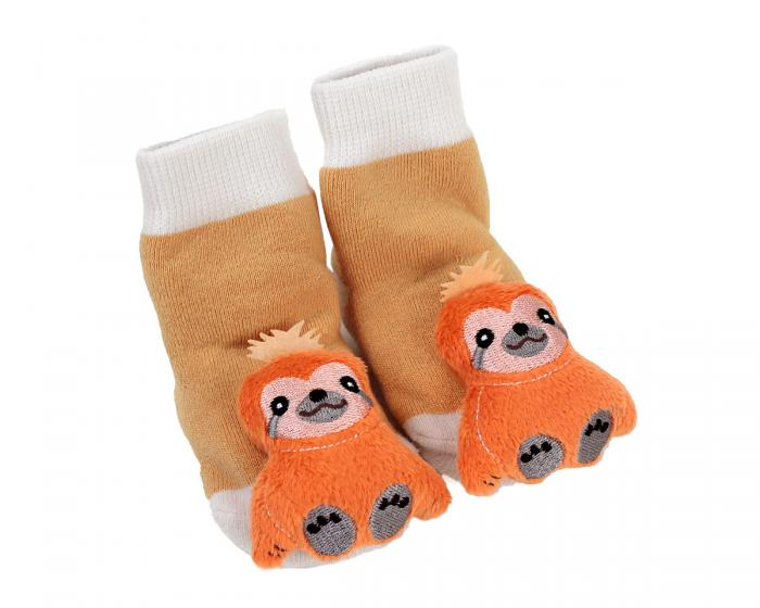 Sloth Baby Rattle Socks 3/4 View