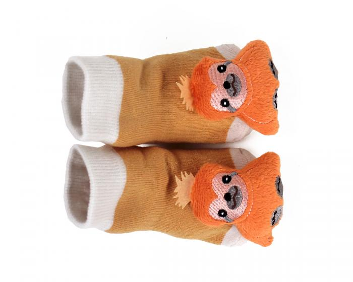 Sloth Baby Rattle Socks Top View