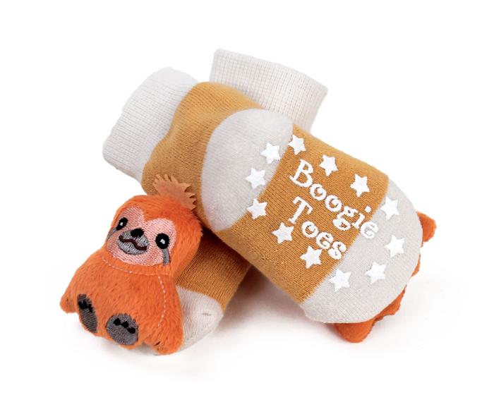 Sloth Baby Rattle Socks Bottom View