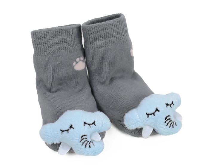 Elephant Baby Rattle Sock 3/4 View