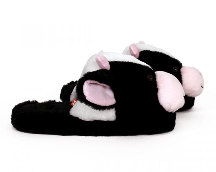 Fuzzy Cow Slippers Side View