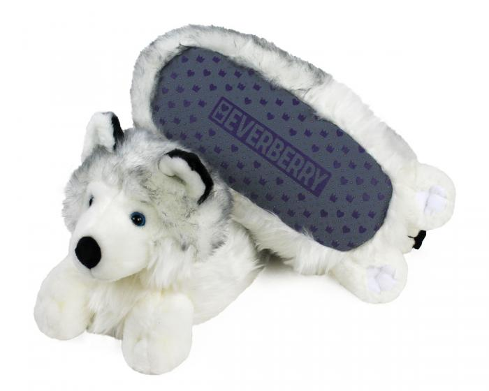Husky Dog Slippers Bottom View