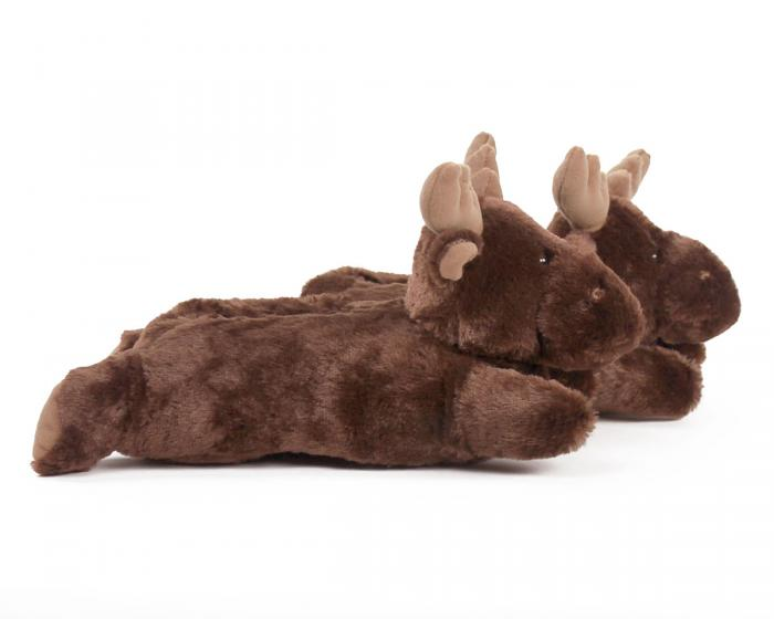 Fuzzy Moose Slippers Side View
