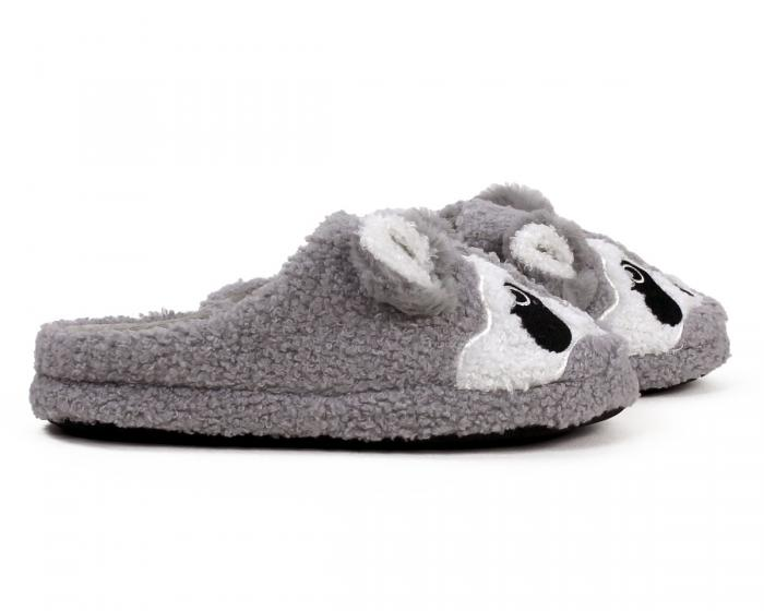 Gray Raccoon Slippers Side View