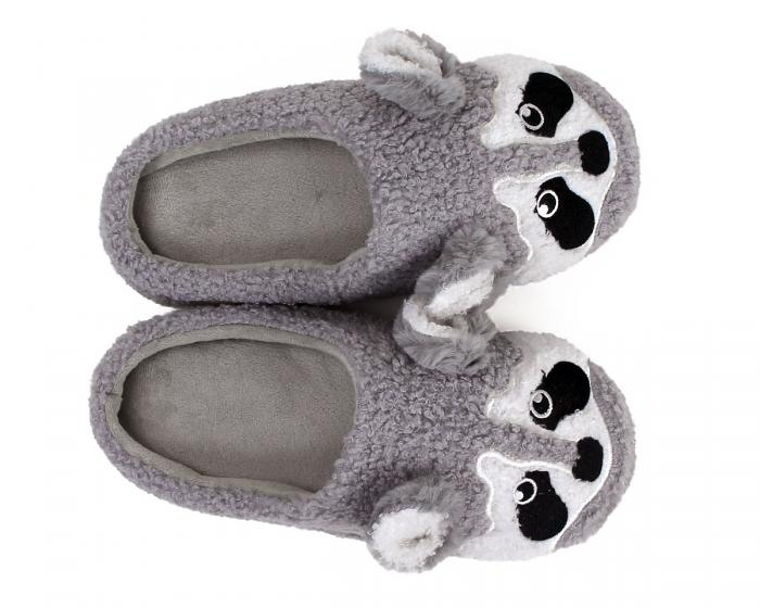 Gray Raccoon Slippers Top View
