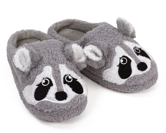 Gray Raccoon Slippers 3/4 View