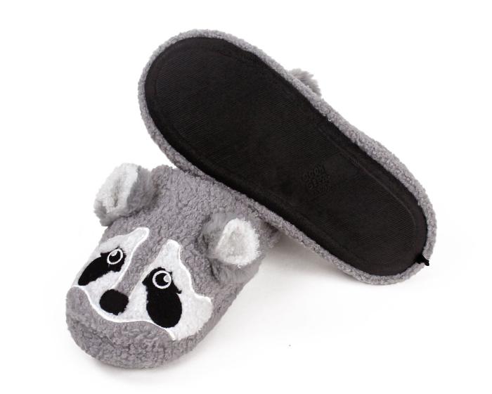 Gray Raccoon Slippers Bottom View
