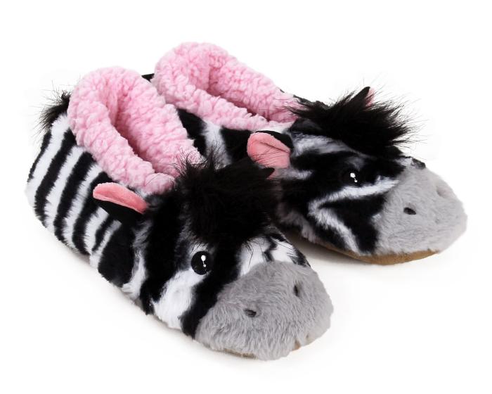 Zebra Sock Slippers 3/4 View