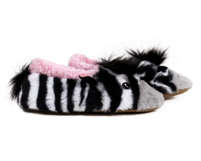 Zebra Sock Slippers Side View