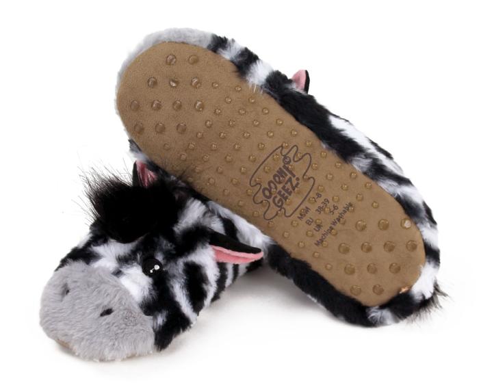 Zebra Sock Slippers Bottom View