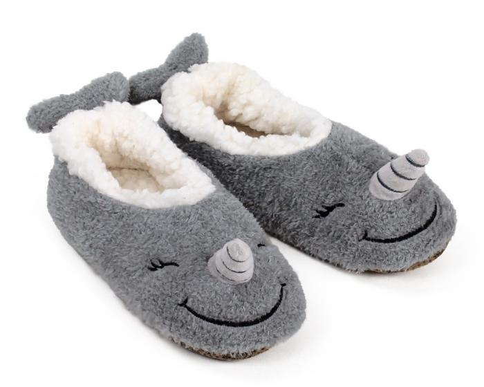 Narwhal Sock Slippers 3/4 View