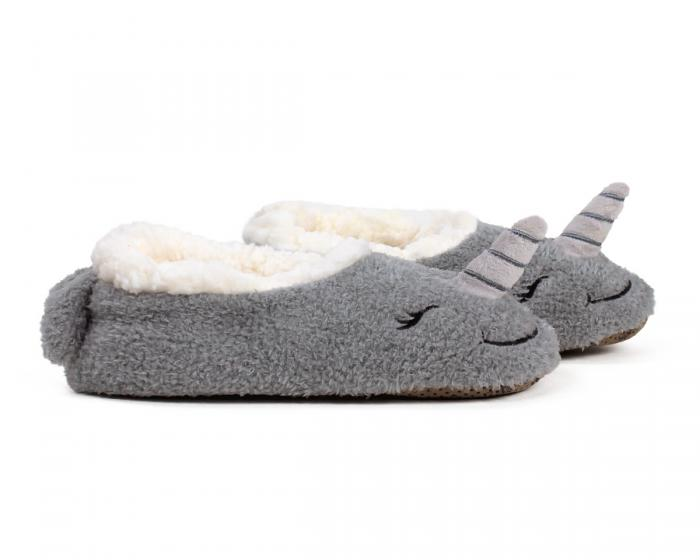 Narwhal Sock Slippers Side View