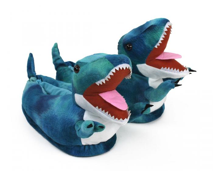 Blue T Rex Slippers 3/4 View