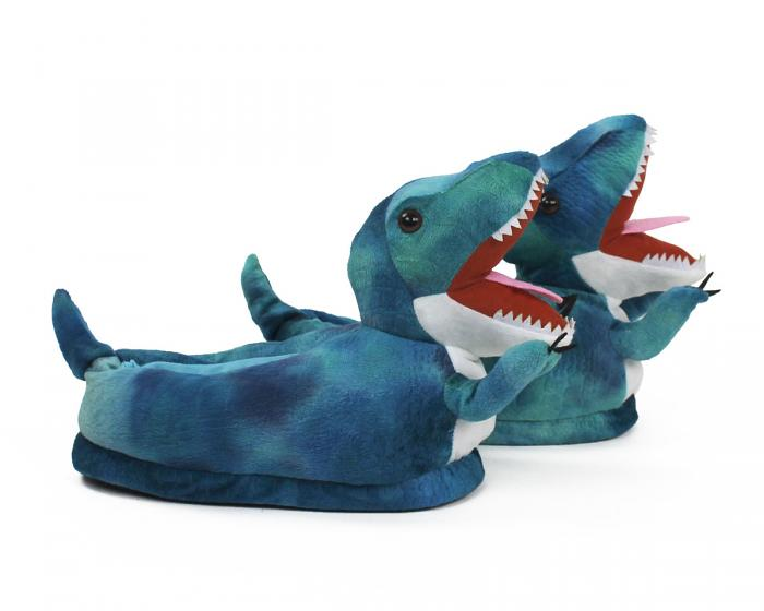 Blue T Rex Slippers Side View