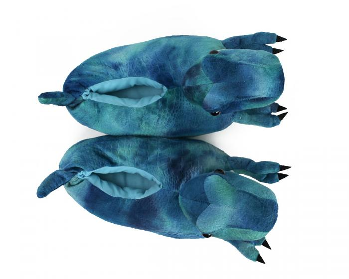 Blue T Rex Slippers Top View
