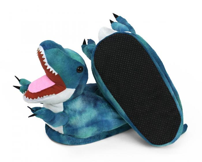Blue T Rex Slippers Bottom View
