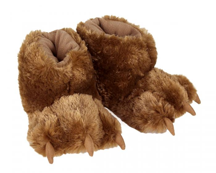 Kids Brown Bear Paw Slippers 3/4 View