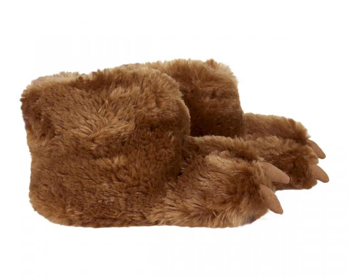 Kids Brown Bear Paw Slippers Side View