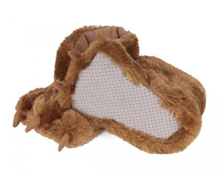 Kids Brown Bear Paw Slippers Bottom View