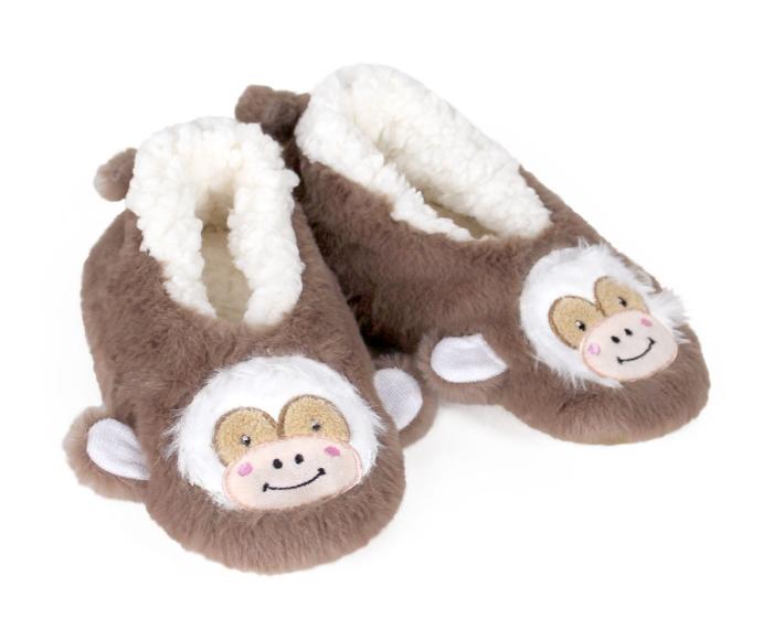 Kids Monkey Sock Slippers 3/4 View