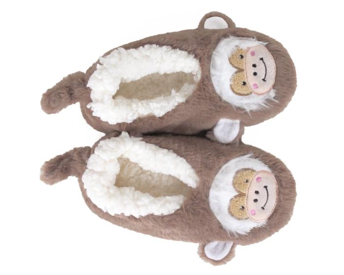 Kids Monkey Sock Slippers Top View