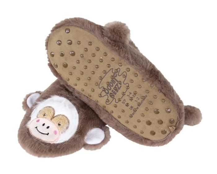 Kids Monkey Sock Slippers Bottom View