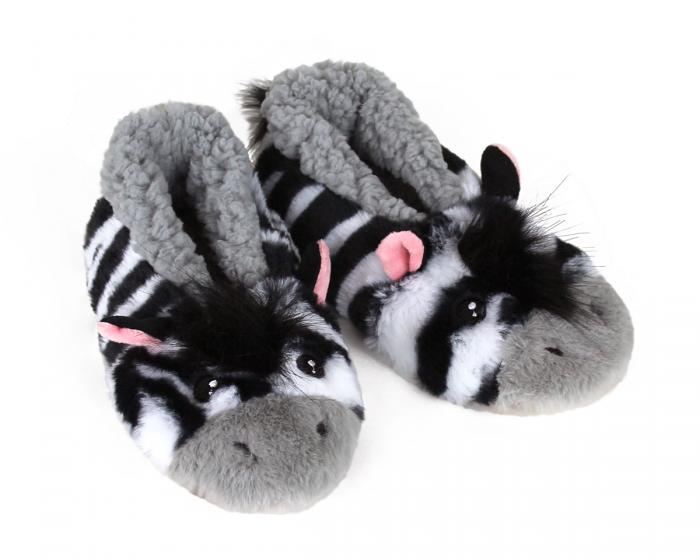 Kids Zebra Sock Slippers 3/4 View
