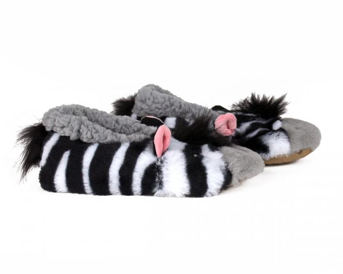 Kids Zebra Sock Slippers Side View