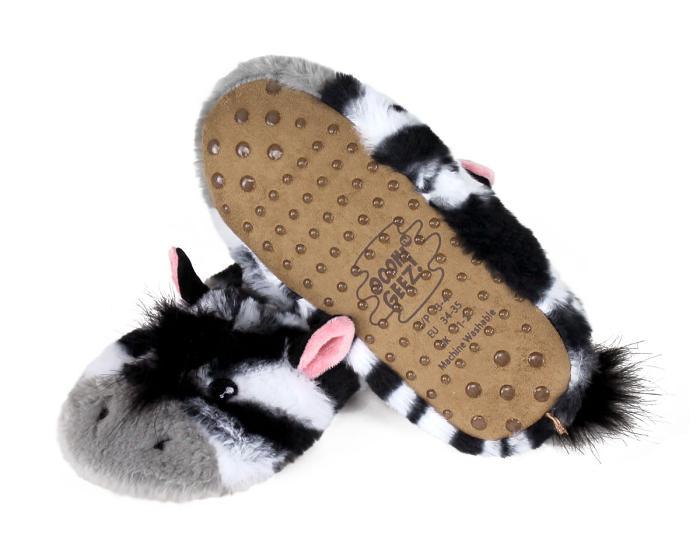 Kids Zebra Sock Slippers Bottom View