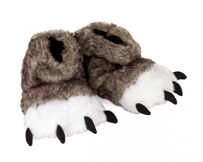 Kids Brown Wolf Paw Slippers 3/4 View