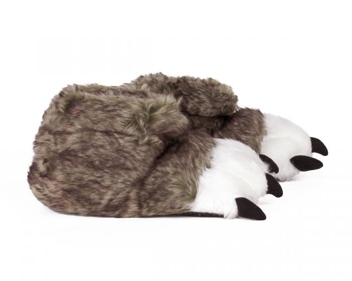 Kids Brown Wolf Paw Slippers Side View